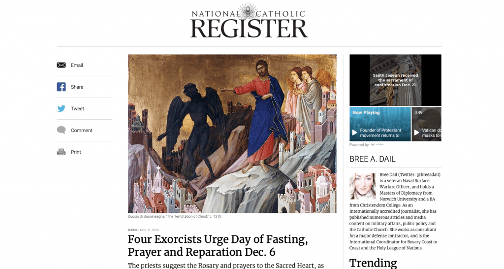 'Four Exorcists Urge Day of Fasting, Prayer and Reparation Dec. 6' by Bree Dail, National Catholic Register.